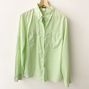 J. Crew Green White Striped Button Down Shirt Sz M